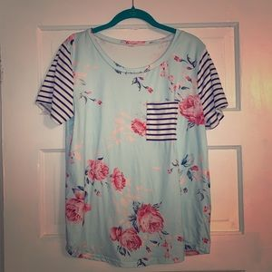 Tops - Size Large Blue Floral & Stripe Tee. EUC.